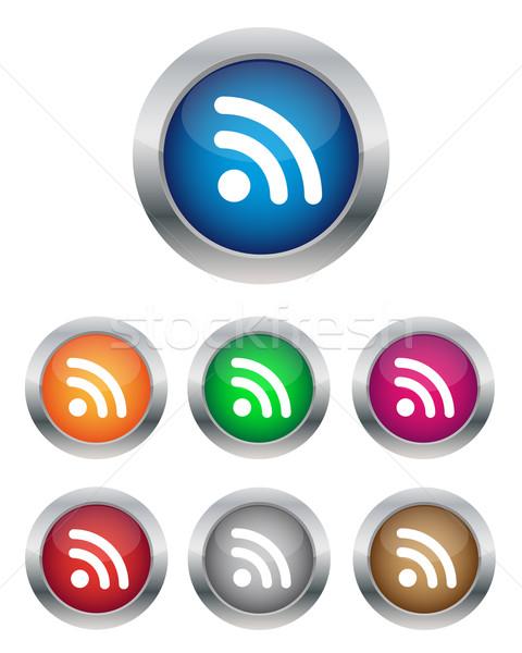 Rss przyciski kolekcja różny kolory internetowych Zdjęcia stock © simo988