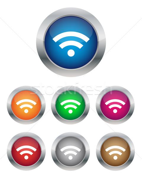 Wifi przyciski kolekcja różny kolory projektu Zdjęcia stock © simo988