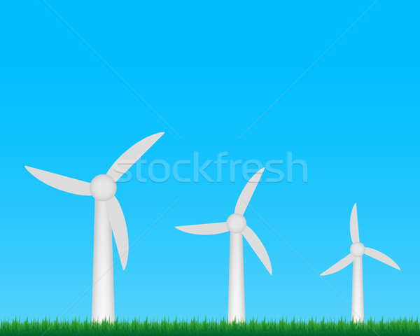Szélturbinák farm elektromosság mező égbolt fű Stock fotó © simo988