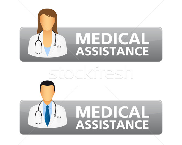 Medycznych wsparcie zażądać przyciski lekarza ikona Zdjęcia stock © simo988