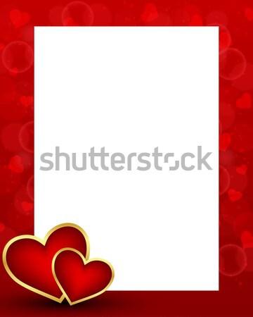 Dia dos namorados cartão cartão em branco dois corações textura Foto stock © simo988