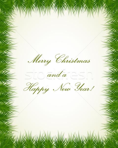 Christmas frame grens boom gelukkig Stockfoto © simo988