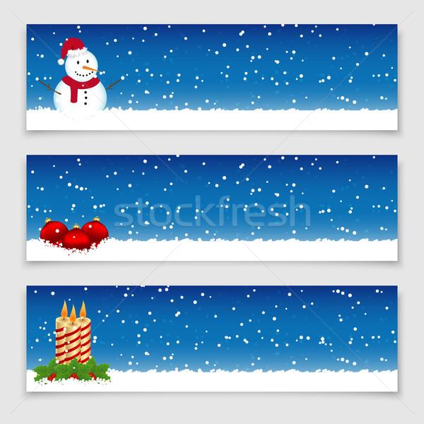Natal banners boneco de neve velas neve Foto stock © simo988