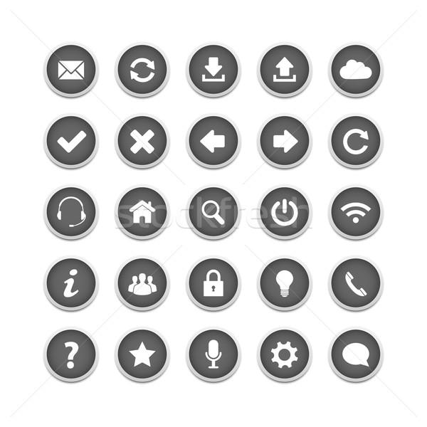 ストックフォト: ウェブ · ボタン · セット · グレー · ビジネス · コンピュータ