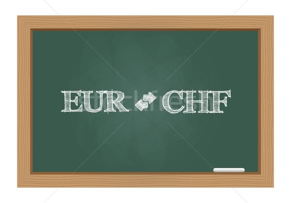 Euro chf currency exchange text on chalkboard Stock photo © simo988