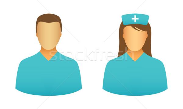 Krankenschwester Symbole männlich weiblichen Computer Frau Stock foto © simo988