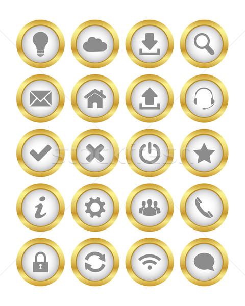 Ouro botões conjunto teia internet casa Foto stock © simo988