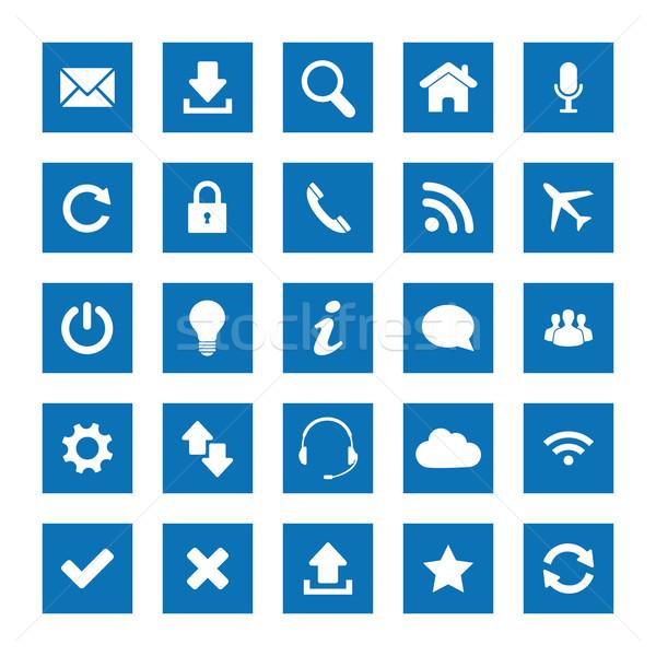 Kare web simgeleri ayarlamak dizayn iş bilgisayar Stok fotoğraf © simo988