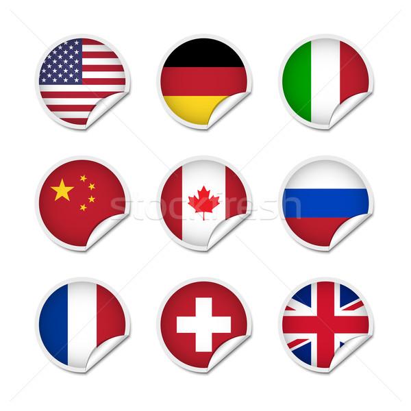 Stock fotó: Zászló · matricák · szett · különböző · világ · kínai