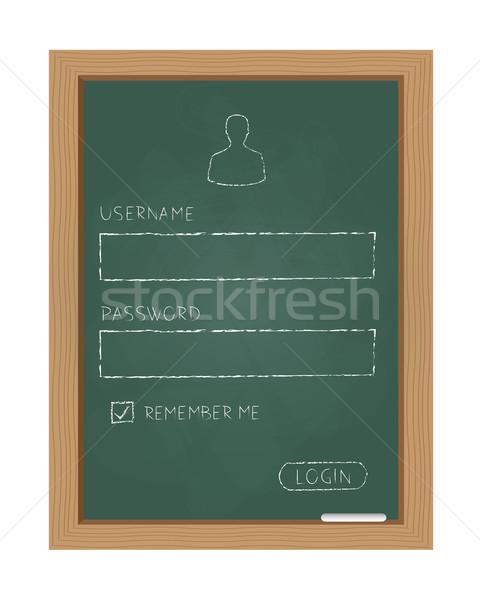 Inloggen vorm schoolbord hout school ontwerp Stockfoto © simo988