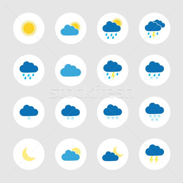 Coloré météorologiques icônes ciel soleil Photo stock © simo988