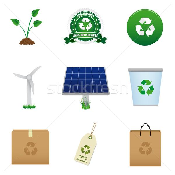 Energii ze źródeł odnawialnych recyklingu ikona trawy zakupy Zdjęcia stock © simo988