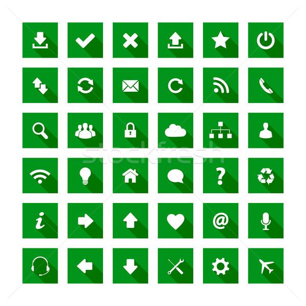 Piazza lungo ombra stile icone verde Foto d'archivio © simo988