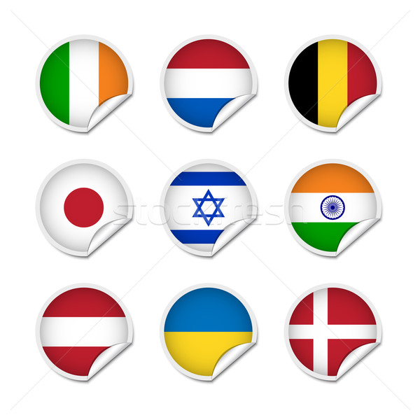 Flagge Aufkleber Set unterschiedlich Welt irish Stock foto © simo988