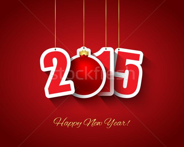 2015 nieuwjaar opknoping papier gelukkig Stockfoto © simo988