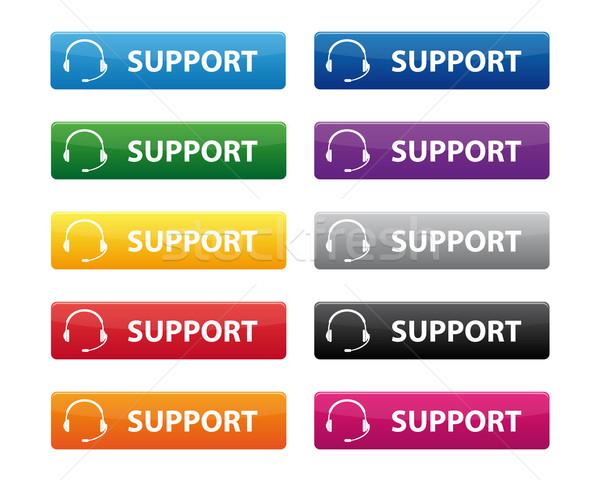 ストックフォト: サポート · ボタン · 色 · ビジネス · 電話
