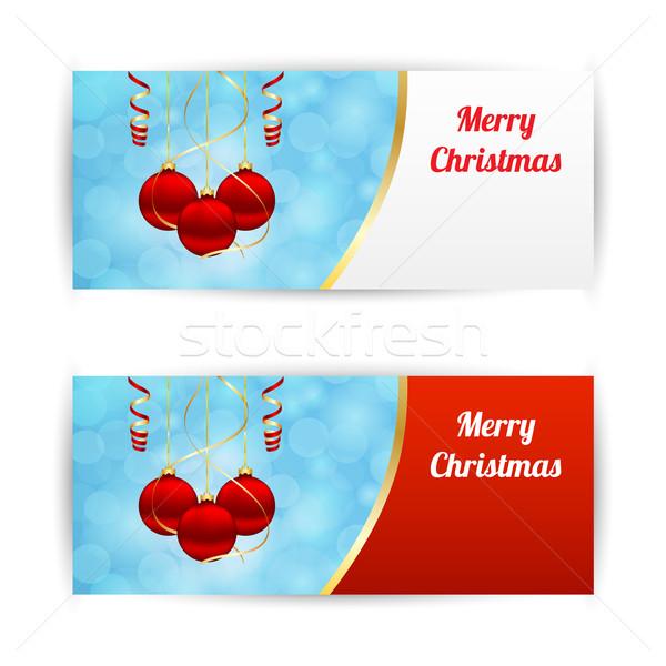 Christmas banners horizontaal opknoping abstract Stockfoto © simo988