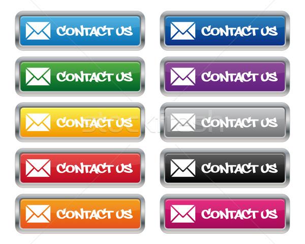 Kapcsolatfelvétel fémes négyszögletes gombok különböző színek Stock fotó © simo988