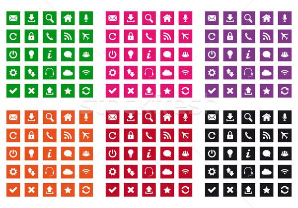 Praça os ícones do web projeto cores negócio Foto stock © simo988