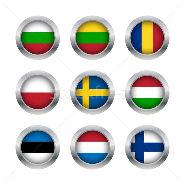 Vlag knoppen ingesteld wereld land Stockfoto © simo988