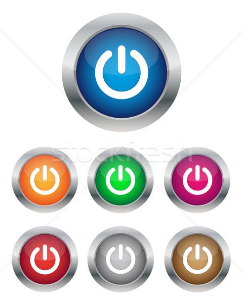 ストックフォト: 電源 · ボタン · 色 · コンピュータ · デザイン