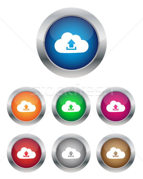 アップロード 雲 ボタン 色 オレンジ ストックフォト © simo988