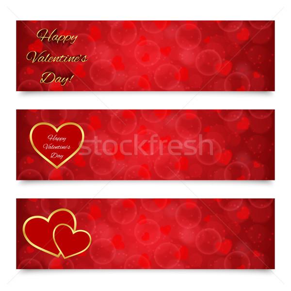 Valentijnsdag banners decoraties textuur gelukkig Stockfoto © simo988