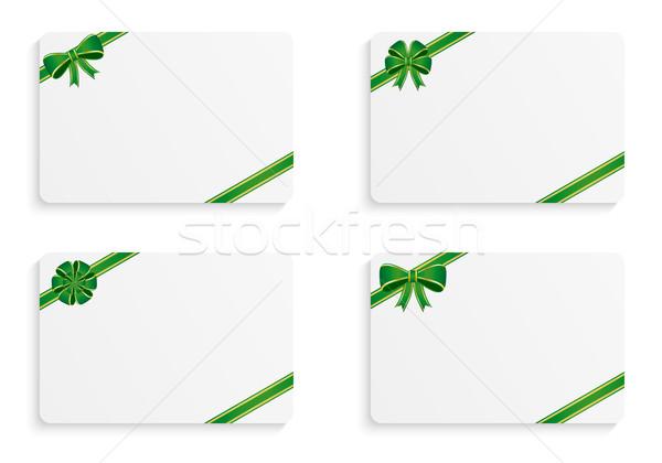Ajándék kártyák különböző zöld íjak papír Stock fotó © simo988