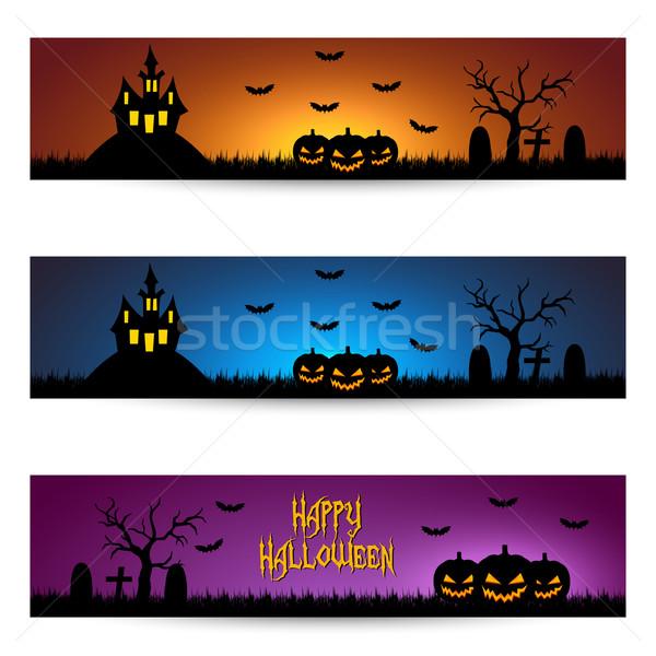 Halloween banery strony szczęśliwy krajobraz projektu Zdjęcia stock © simo988