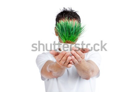 Groene energie afbeelding paar handen gloeilamp Stockfoto © SimpleFoto