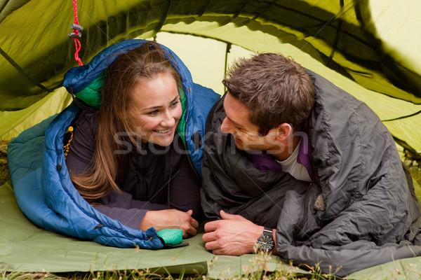 кемпинга счастливым пару палатки глядя человека Сток-фото © SimpleFoto