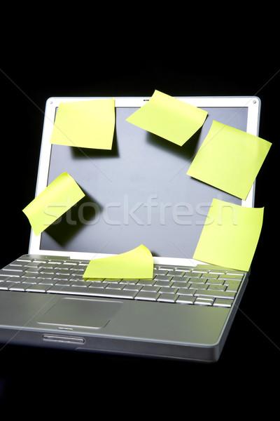öntapadó jegyzet laptop laptop számítógép notebook jegyzet citromsárga Stock fotó © SimpleFoto