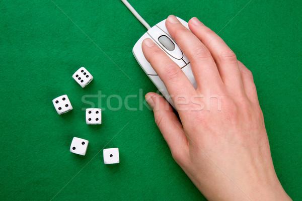 Gra komputerowa kości mysz komputerowa zielone online Zdjęcia stock © SimpleFoto