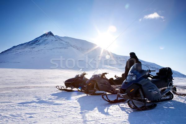 Adventure три зима пейзаж горные женщину Сток-фото © SimpleFoto