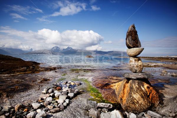 Rocha escultura estátua norueguês paisagem mar Foto stock © SimpleFoto