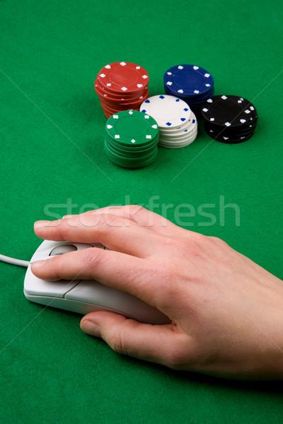Línea juego ratón de la computadora mano fichas de casino ratón Foto stock © SimpleFoto