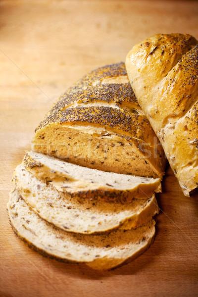 Friss kenyérszelet házi készítésű hagyma vad rizs Stock fotó © SimpleFoto