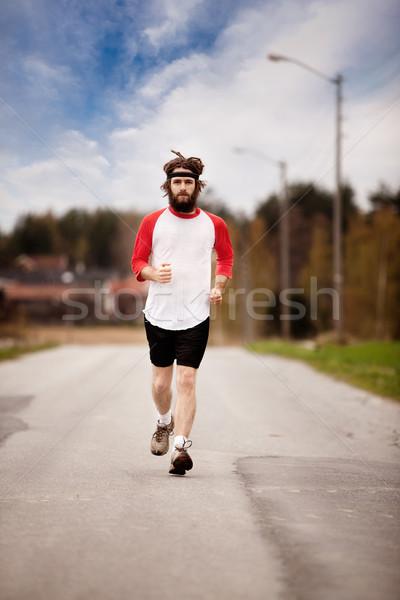 クロス 国 ジョグ 疲れ レトロスタイル ジョガー ストックフォト © SimpleFoto