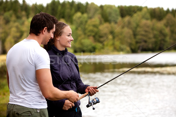 Man and Woman Fishing Stock photo © SimpleFoto