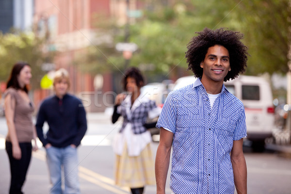 Attractive African American male in a City Street Stock photo © SimpleFoto