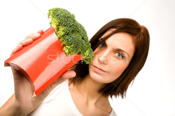 Fast food vrouwelijke gezonde snack gelukkig gezondheid Stockfoto © SimpleFoto