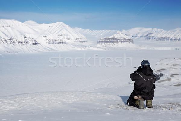 Vadon útmutató tél kaland férfi jég Stock fotó © SimpleFoto