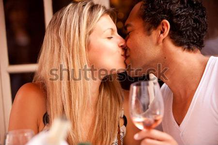 Couple Flirt Kiss Stock photo © SimpleFoto
