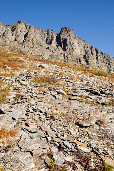 Norueguês montanha pormenor rocha primeiro plano céu Foto stock © SimpleFoto