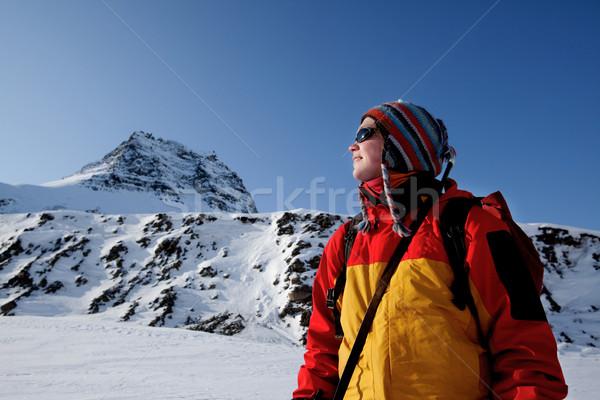 Inverno retrato feminino aventureiro montanha Foto stock © SimpleFoto