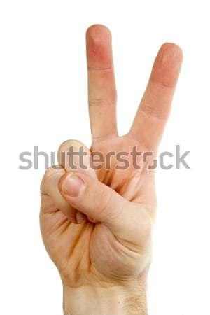 Dois dedos masculino mão para cima paz Foto stock © SimpleFoto