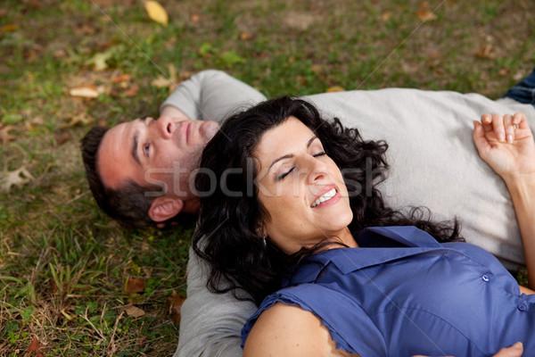 человека женщину пару трава Сток-фото © SimpleFoto