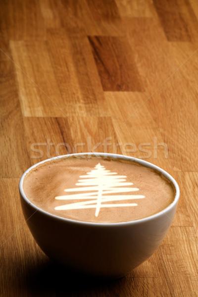 Рождества кофе капучино рождественская елка продовольствие Сток-фото © SimpleFoto