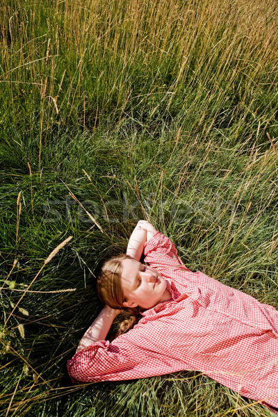 Farm ragazza paese rilassante erba primavera Foto d'archivio © SimpleFoto