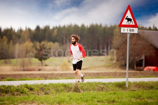 ретро Runner длинные волосы борода бег стране Сток-фото © SimpleFoto